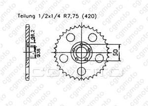 Kit chaine Rieju/Msa 50 Rs1/Rse Evolution